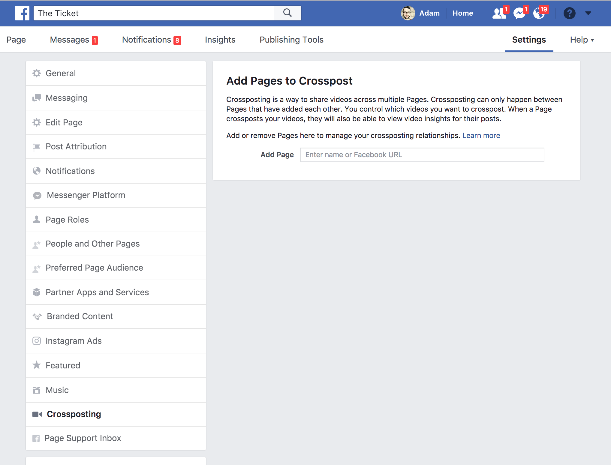 Screenshot of the crossposting settings page from Facebook