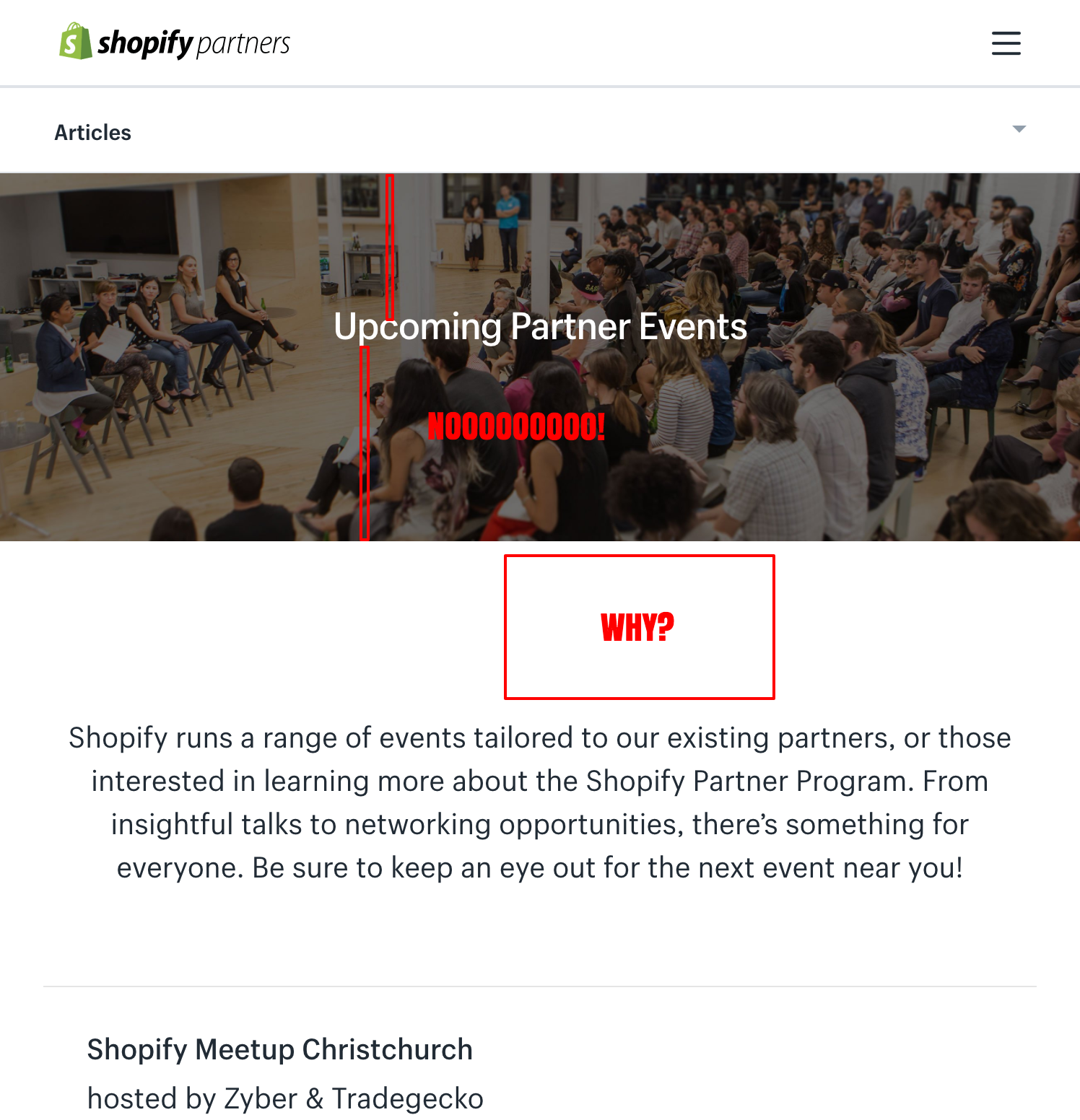 Screenshot of the Shopify Partners event page with small UI problems highlighted